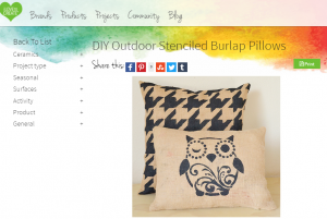 Stenciled Burlap Pillow