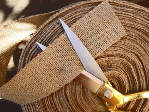 Burlap ribbon inches