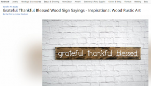 Rustic sign grateful